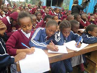 Pupils learning about FGM at Seminar in Heri School
